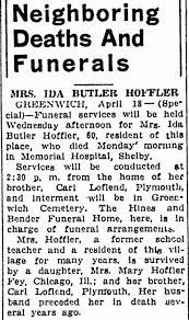 Obituary for IDA BUTLER HOFFLER (Aged 60) - Newspapers.com