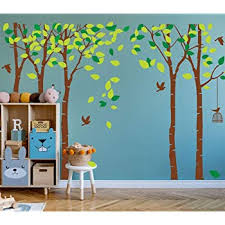 Amazon Com Aliqing Large Birch Tree Wall Decor Forest Tree Wall Decals Peel And Stick Removable Wall Stickers Living Room Bedroom Decoration Brown Green Kitchen Dining
