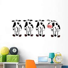 Amazon Com Wallmonkeys Four Silly Cows Panoramic Wall Decal Decal Graphic 60 In W X 35 In H Wm150258 Furniture Decor