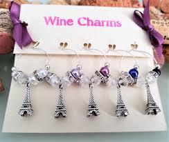 paris eiffel tower wine charms bridal