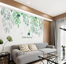 Large Green Leaf Wall Stickers Green Tree Life Quotes Decals Living Room Couch Background Decoration Tropical Plants Home Decor Thefuns On Artfire