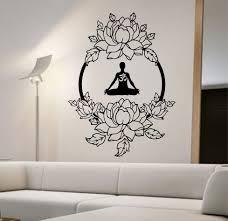 Lotus Wall Decal Meditation Sticker Art Decor Bedroom Design Etsy Sticker Art Wall Stickers Home Decor Wall Decals