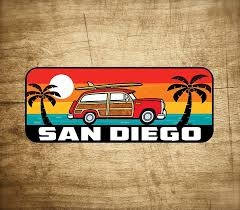 Amazon Com Surf San Diego Sticker Decal 5 X 2 California Woodie Surfing Laptop Automotive
