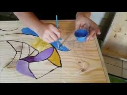 diy fake stained glass on wood the