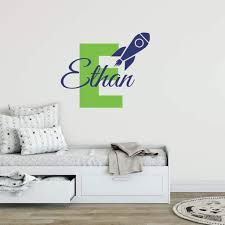 Rocket Ship Name Wall Decal Space Sticker For Kids Db358 Designedbeginnings