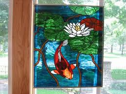 koi stained glass beveled windows panel