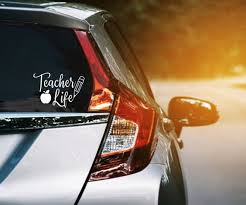 Teacher Life Vinyl Decal Teacher Car Window Sticker W Apple Etsy