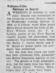 Ola Smith and family attend the wedding of Annie Belva Smith in  Detroit,Michigan in 1928 - Newspapers.com