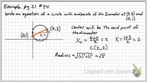 pre cal circle example problems you
