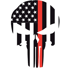 Thin Red Line Punisher Skull Window Decal Police Fire Ems Viny Graphics Stickers Decals Dkedecals