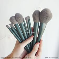 dark green makeup brush set