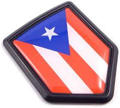 Amazon Com Puerto Rico Flag Black Shield Car Bike Decal Crest Emblem 3d Sticker Automotive