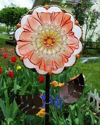 glass garden art plate flower yard art