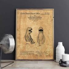 Muppets Patent Jim Henson Wall Art Kermit Posters Kids Room Decor Vintage Print Blueprint Gift Idea Wall Decorations Painting Calligraphy Aliexpress