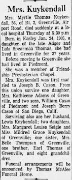 Obituary for Myrtle Thomas Kuykendall (Aged 56) - Newspapers.com