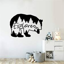 Amazon Com Wall Decal Quote Words Lettering Decor Sticker Wall Vinyl Explore Bear Travel Mountains Forest Theme Kids Room Decor Nature Beer Nursery Home Kitchen