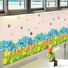 Spring Flowers Fence Skirting Border Decoration Decals Pvc Waterproof Removable Vinyl Mural Wall Stickers Home Decor Amazon Co Uk Diy Tools