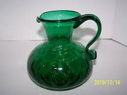 hand blowned art glass pitcher