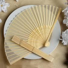Ivory Asian Silk Folding Fans Tableclothsfactory