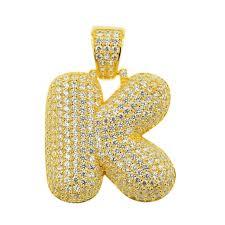 sterling silver cz letter k pendant