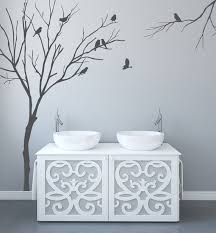 Realistic Winter Tree Wall Decals For Nursery With Birds Stick Etsy