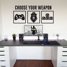 Choose Your Weapon Wall Decal Gamer Room Decor Vinyl Wall Decals Video Game Wall Art Decor Removable Computer Geek Gifts X788 Wall Stickers Aliexpress