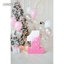 Laeacco شجرة عيد الميلاد بالونات 1 سنة عيد ميلاد الطفل خلفيات
