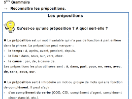 5ème grammaire les prépositions leçon