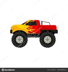 Bright Red Monster Truck With Yellow Flame Decal Heave Car With Large Tires And Black Tinted Windows Flat Vector Icon Stock Vector C Happypictures 206706576
