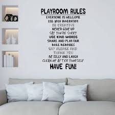 Playroom Rules Poster Wall Decal Removable Diy Wall Sticker Mural For Kids Bedroom Decal Pw117 Wall Stickers Aliexpress