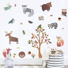 Amazon Com Decalmile Woodland Animal Wall Decals Deer Fox Tree Wall Stickers Nursery Wall Art Decor Kids Bedroom Baby Room Decoration Kitchen Dining
