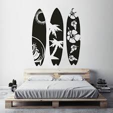 Sea Sport Wall Decal New Design Surfboard Wall Sticker Waves Sea Beach Wall Art Mural Creative Three Surfboard Style Decal Wish