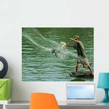 Fisherman Wall Decal Design 2 Wallmonkeys Com