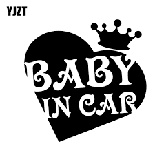 Yjzt 12 7cm 12 6cm Baby In Car Decal Vinyl The Crown Of Personality Love Car Sticker Black Silver C10 00746 Car Stickers Aliexpress