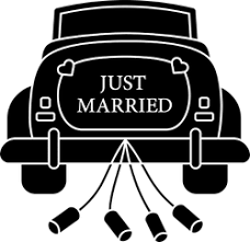 Just Married Cartoon Car With Cans Sticker