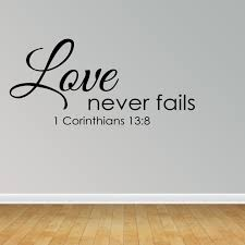 Wall Decal Quote Love Never Fails Christian Bible Verse Sticker Scripture R35 Walmart Com Walmart Com