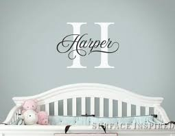 Personalized Name Monogram Wall Decal Vinyl Wall Art Harper Style Wall Surface Inspired Home Decor Wall Decals Wall Art Wooden Letters
