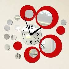 Amazon Com Alrens Diy Tm Red And Silver Rounds Wall Clock Mirror Wall Clock Modern Design Removable Diy Acrylic 3d Mirror Wall Decal Wall Sticker Living Room Bedroom Office Decoration Home Kitchen