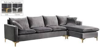 selene contemporary plush grey velvet