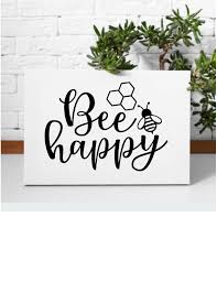 Bee Happy Removable Wall Decor Inspirational Decor Whimsidecals