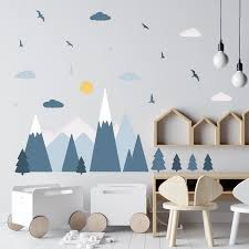 Walplus Colourful Mountains Landscape Scandinavian Style Children Peel And Stick Wall Stickers Mountain Decals Nursery Babyroom Woodland Adventure Wall Decor Walmart Com Walmart Com