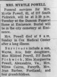 Obituary for MYRTLE POWELL (Aged 83) - Newspapers.com