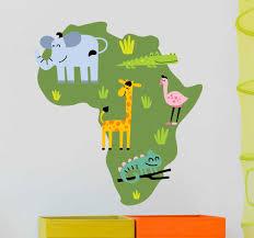 African Animal Map Wall Sticker Tenstickers
