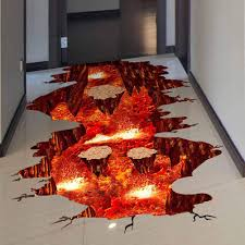 Amazon Com Creative 3d Space Wall Decals Removable Pvc Magic Floor Flame And Lava Wall Stickers Murals Wallpaper Art Decor For Home Walls Ceiling Boys Room Kids Bedroom Nursery School Kitchen Dining