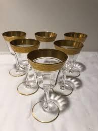 vintage gold rimmed wine glasses set