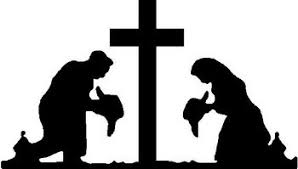 Cowboy And Cowgirl Praying At Cross Vinyl Cut Decal