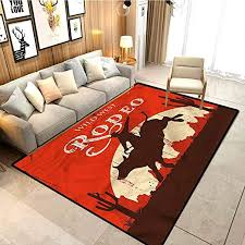 Amazon Com Vintage Bedroom Children S Room Carpet Rodeo Cowboy Rides Bull Cosy Cute Floor Rug For Kids And Teens Room W5xl6 Feet Kitchen Dining
