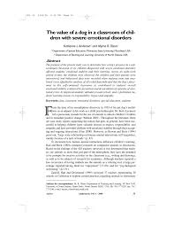 PDF) The value of a dog in a classroom of children with severe emotional  disorders