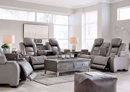 man den power reclining sofa set gray