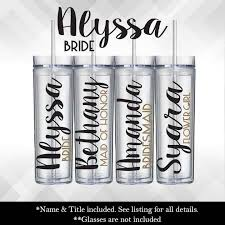 Bridal Party Bridesmaid Decal For Glasses Or Plastic Tumblers Vinyl Sticker